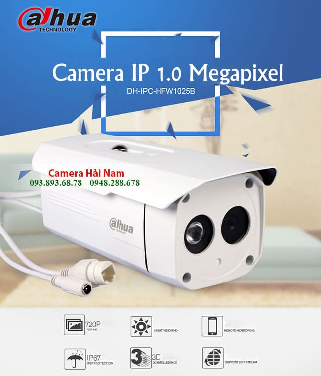 Camera Dahua IP 1.0 Megapixel DH-IPC-HFW1025B HD 720P