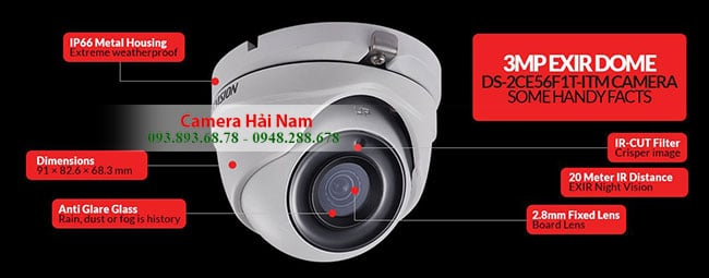 CAMERA HIKVISION HDTVI 3.0MP 6