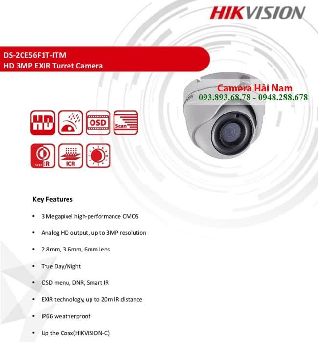 CAMERA HIKVISION HDTVI 3.0MP 7