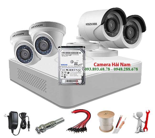 trọn bộ 4 camera hikvision 1mp hd 720p