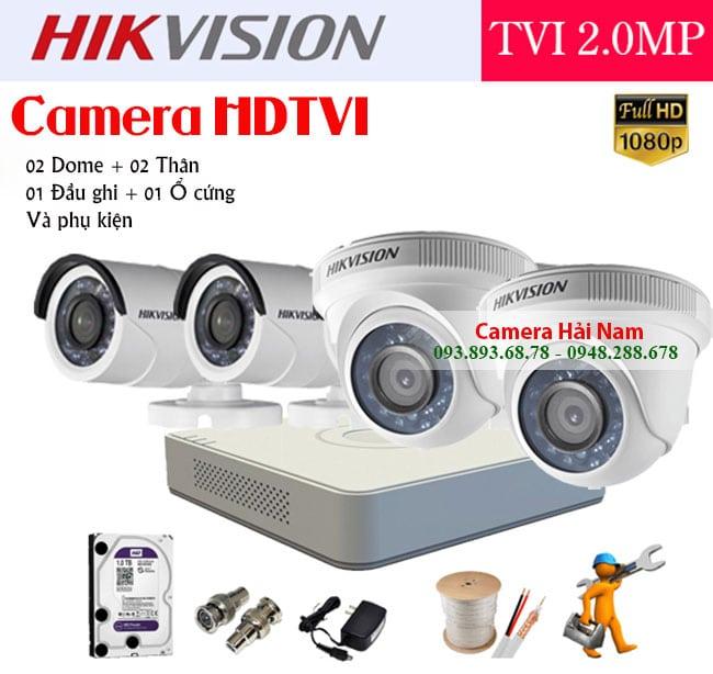 trọn bộ 4 camera hikvision 2MP FULL HD 1080P