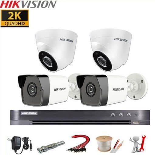 Bộ 4 mắt Hikvision 5MP - 2K (2560*1920)P Chính hãng, Giá rẻ