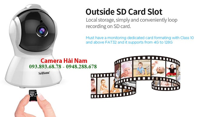 Camera SriHome SH025 ho tro khe cam the nho micro sd
