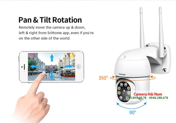 Camera wifi 360 Srihome 2MP Full HD PTZ