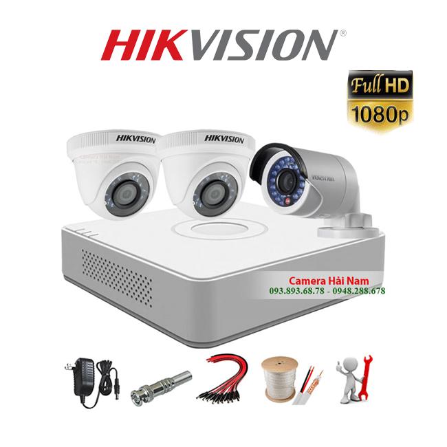 Bộ 3 Mắt Camera Hikvision 2.0MP Full HD 1080P chính hãng, chống nước hiệu quả