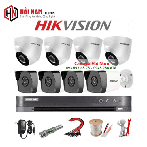 Trọn bộ 8 camera Hikvision 5MP